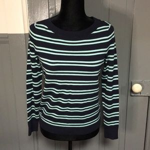 Talbots Navy and Mint Striped Sweater